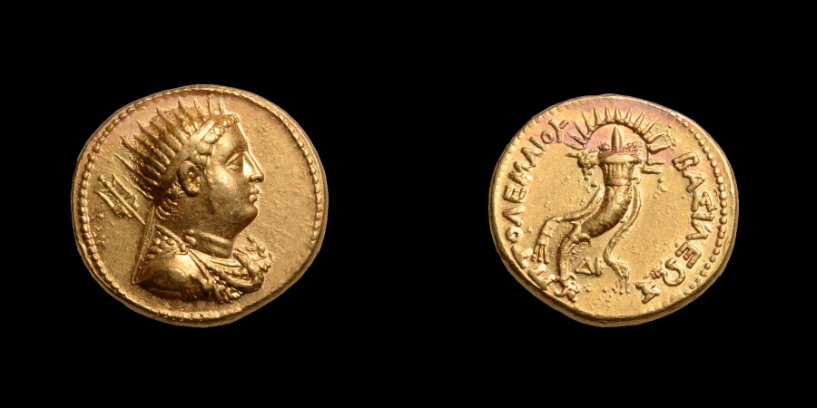 Ancient Coins - Superb Ancient Greek Gold Oktadrachm Mnaieion Coin of King Ptolemy IV - 221 BC