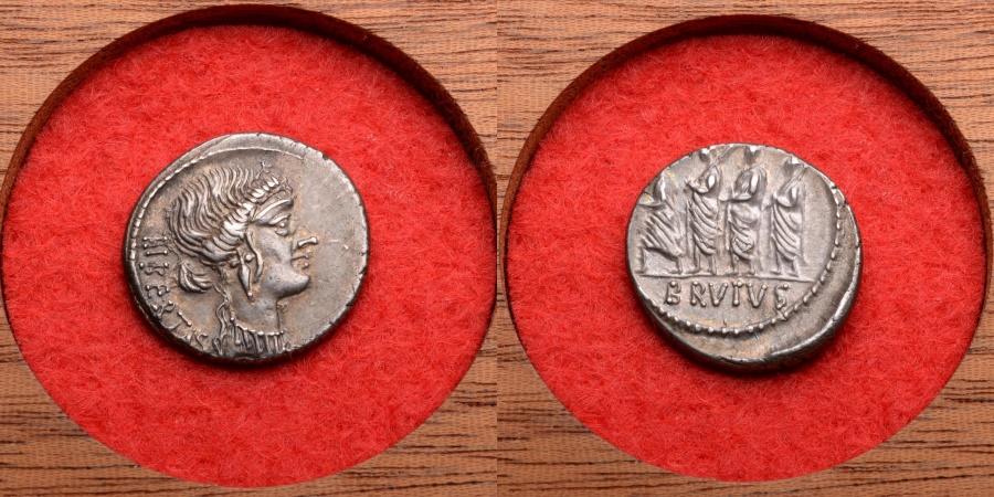 Ancient Coins - Ancient Roman Silver Denarius Coin of Marcus Junius Brutus - 54 BC