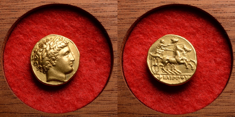 Ancient Coins - Ancient Greek Gold Lifetime Stater Coin of King Philip II of Macedon - 345 BC