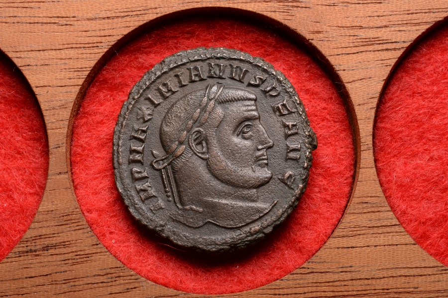 Ancient Coins - Ancient Roman Bronze Follis Coin of Emperor Maximianus Herculius- 301  AD