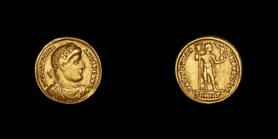 Ancient Roman Gold Solidus Coin of Emperor Valentinian I the Great - 364 AD