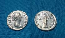 Ancient Coins - Diva Faustina I. AR Denarius.