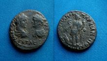 Ancient Coins - Caracalla and Geta AE28 Pentassarion of Markianopolis.