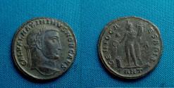 Ancient Coins - Maximinus II. AE Follis 24mm, Antioch, R / Genius