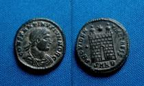 Ancient Coins - Constantine II AE Follis Heraclea campgate