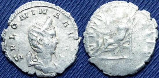 Ancient Coins - Salonina, AR Antoninianus, Joint Reign, 257-259, Lugdunum (RIC), Cologne (Göbl) - RIC V, Part I, 7; Göbl 898c