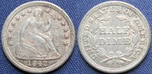 Us Coins - Half Dime, Seated Liberty, 1842, Philadelphia Mint - Mintage: 815,000