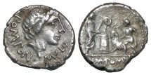 Ancient Coins - Roman Republican, L. Pomponius Molo, AR Denarius, 97 BC, Rome - Pomponia 6; Crawford 334/1; Sydenham 607
