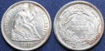 Us Coins - Half Dime, Seated Liberty, 1872, Philadelphia Mint - Mintage: 2,947,950
