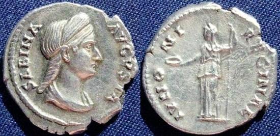 Ancient Coins - Sabina, AR Denarius, 128-136, Class A, Rome - RIC II, 395a (Hadrian)