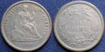 Us Coins - Half Dime, Seated Liberty, 1861, Philadelphia Mint - Mintage: 3,361,000