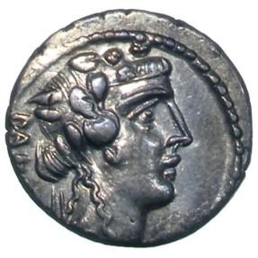 Ancient Coins - Roman Republican, C. Vibius C.f. C.n. Pansa Caetronianus, AR Denarius, 48 BC, Rome - Vibia 16; Crawford 449/2; Sydenham 946