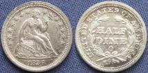Us Coins - United States of America, Half Dime, Seated Liberty, 1856-O, New Orleans Mint - Mintage: 1,100,000