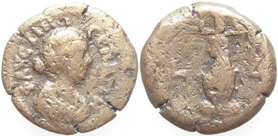 Ancient Coins - Faustina II, AE Diobol, 163/164 (Year 4), Egypt-Alexandria - Emmett 2314 (Ex Keith Emmett Collection)