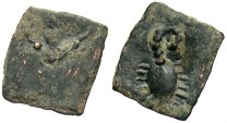 Ancient Coins - Kashmir-Smast Cave, AE Unit, 3rd-4th Century AD? - Tamgha / Scorpion