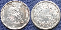 Us Coins - Half Dime, Seated Liberty, 1871, Philadelphia Mint - Mintage: 1,873,960