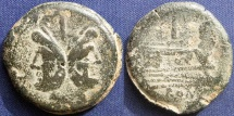 Ancient Coins -  Roman Republican, Anonymous Issue, AE As (Sextantal Standard), After 211 BC, Rome - Crawford 56/2; Sydenham 143