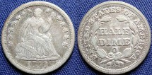 Us Coins - Half Dime, Seated Liberty, 1850-O, New Orleans Mint - Mintage: 690,000