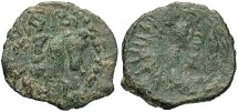 Ancient Coins - Kashmir-Smast Cave, AE Unit, 5th-8th Century AD - King on horseback / fire altar