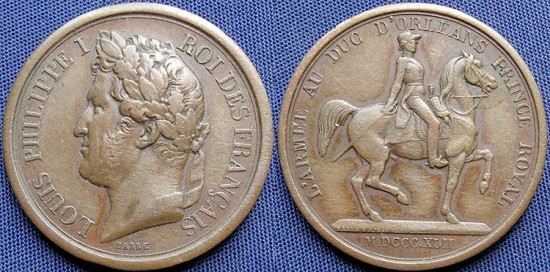 World Coins - France, Louis Philippe I (1830-1848), AE Medal, 1842 - Equestrian statue of Duke of Orleans