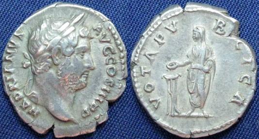Ancient Coins - Hadrian, AR Denarius, 134-138, Rome - RIC II, 290