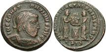 Ancient Coins - Roman Imperial, Constantine I, AE3, 318-319, Siscia, Officina 5 - RIC VII, 54 variant (helmet design)