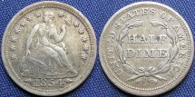 Us Coins - Half Dime, Seated Liberty, 1854, Philadelphia Mint - Mintage: 5,740,000