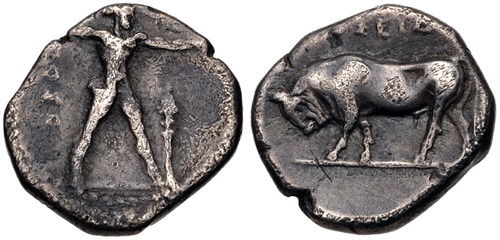 Ancient Coins - Lucania, Poseidonia. c. 330 BC. Last silver issue of the city - Very rare