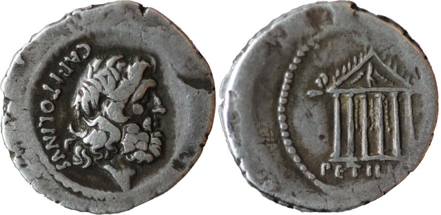 Ancient Coins - Roman Republic. Petillius Capitolinus. Denarius 43 BC.