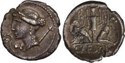 Ancient Coins - Julius Caesar denarius, Military mint in Spain, c. 46-45 BC. Rare