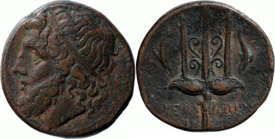 Ancient Coins - Sicily, Syracuse, time of Hieron II. C. 240-215 BC. AE 21