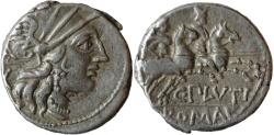 Ancient Coins - Rome Republic, Denarius 121 BC - Pluti