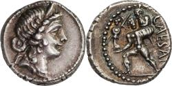 Ancient Coins - Roman Republic, Julius Caesar, denarius 47/6 BC. Nice irridescent toning !