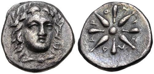 Ancient Coins - Satraps of Caria, Pixodaros (341-335 BC). Halikarnassos mint. Very nice AR trihemiobol.