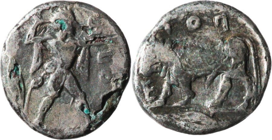 Ancient Coins - Lucania, Poseidonia. C. 445-415. Extremely rare plated AR triobol.