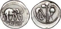 Ancient Coins - Julius Caesar - AR denarius 49 BC - Military mint travelling with Caesar.