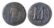 Justinian I. 527-565. AE42 FOLLIS VF/EF