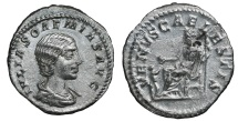 Ancient Coins - Julia Soaemias. AR Denarius. Mother of Elagabalus.  219-222 AD.