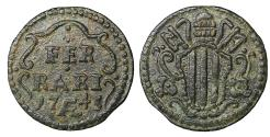 World Coins - Papal States. Benedict XIV. 1740-1758. Ferrara. Quattrino 1745 UNC. Rare