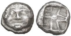 Ancient Coins - MYSIA Parion 500-475 BC AR Silver Drachm Gorgoneion VF+