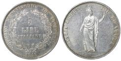 World Coins - Italy Milan Provisional Government 1848 5 Lire 1848 aUNC