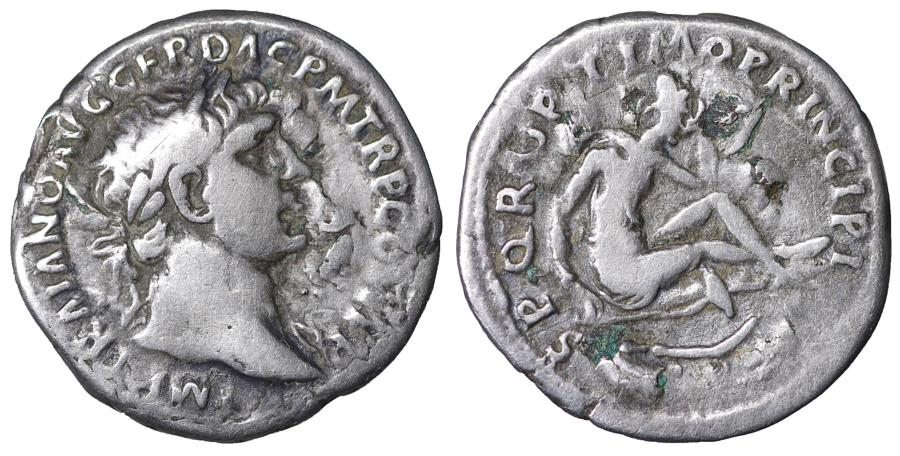 Ancient Coins - Trajan (98-117). Denarius. Rome. AD 103-111. \ Dacia seated \ VF+