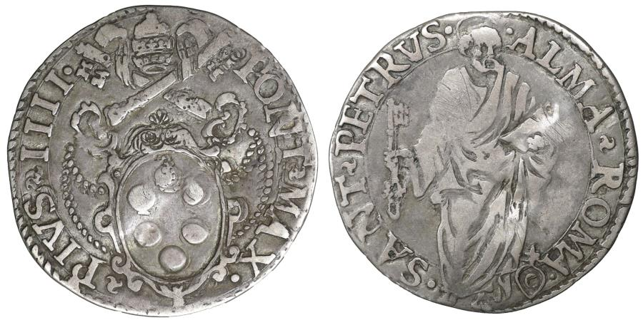 World Coins - Papal States ROME Pope Pius IV 1559-1566 Giulio Rare aUNC