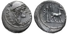 Ancient Coins - Cn. Plancius, 55 BC. Denarius Nicely toned. aEF