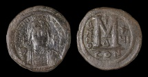 Ancient Coins - Justinian I. AE Follis. 527-565 AD, Constantinople mint. Struck in 542/543 AD