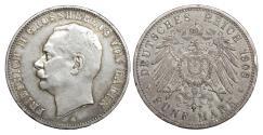 World Coins - Germany. Friedrich II 5 Mark 1908 XF