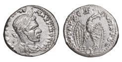 Ancient Coins - Macrinus 217-218 AD Silver Tetradrachm. aEF Rare (R)