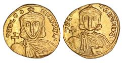 Ancient Coins - Leo III the Isaurian with Constantine V Gold Solidus 717-741 AD  XF\UNC