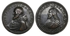 World Coins - Papal States Pope Pius V 1566-1572 Bronze medal 1562 Rare Mint State Posthumous issue of 1700
