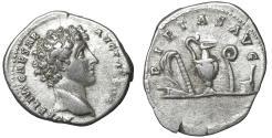 Ancient Coins - Marcus Aurelius as Caesar AR Denarius. Rome, AD 140-144.  XF+ \ PIETAS